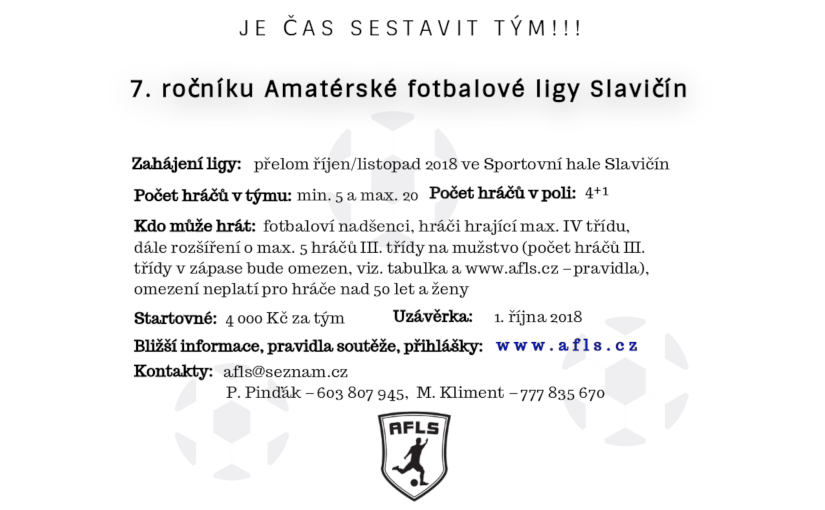 Přihláška do 7. ročníku Amatérské fotbalové ligy Slavičín